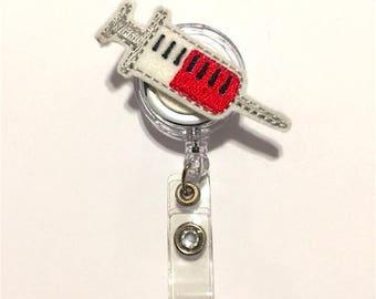 Syringe ID Badge Clip - Felt Badge Clip