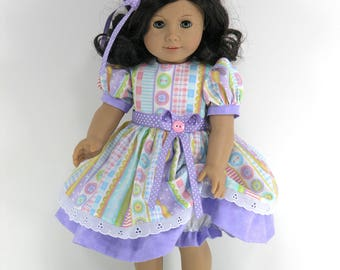 Handmade 18 inch Doll Clothes for American Girl - Dress, Headband, Bloomers - Pastel Button Stripe - Shoes Option