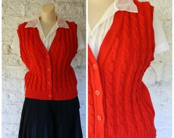 Red Wool Sweater Vest / Cable Knit Vest / Vintage Pendleton Vest / 1970s Sweater Vest / Christmas Vest S/M