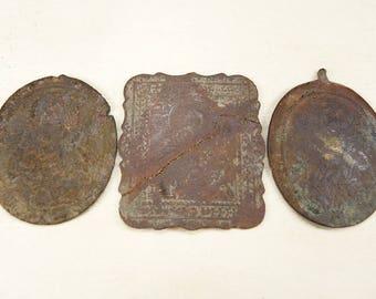 Antique Religious Pendant - Charm - Religious Pendant Parts - Antiques brass plates - set of 3 - #36