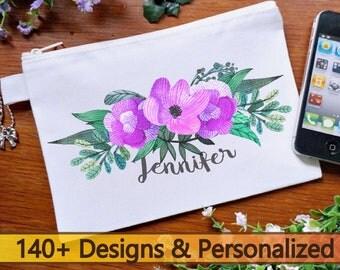Floral Personalized makeup bag, bridesmaid gifts, personalized cosmetic bags, personalized makeup bag