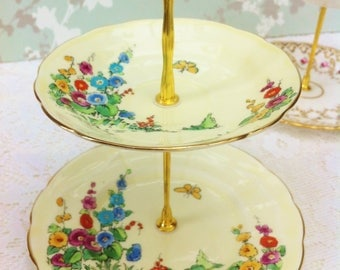 Butterfly Garden 2 Tier Mini Cake Stand, Crown Staffordshire