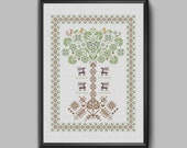 Yggdrasil - Traditional World Tree of Life Sampler pdf pattern for cross stitch in Scandinavian style.
