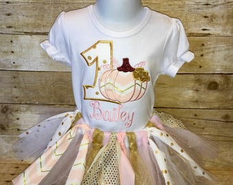 Pink and Gold Pumpkin Birthday Outfit with Fabricand Tulle Tutu and Hairbow
