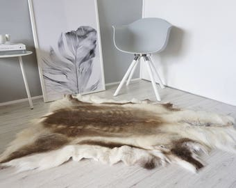 genuine super soft extra large reindeer skin rug hide pelt