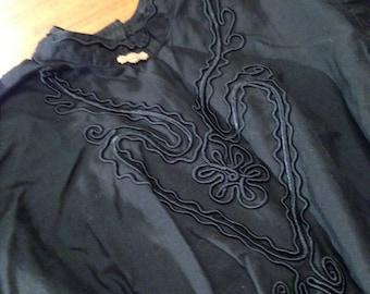 Antique C 1870/80's Ladies Goth Black Cotton Shirt w/Gold Victorian Brooch