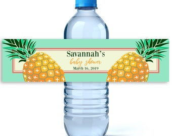 Pineapple Baby Shower Water Bottle Labels - Baby Shower Favors - Baby Shower Labels  - Water Bottle Labels - Tropical Baby Shower Water