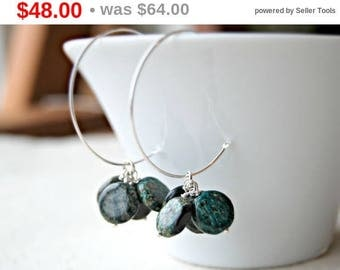 CIJ SALE** woodland... silver jasper earrings / teal moss green african turquoise jasper coins & sterling silver hoop earrings
