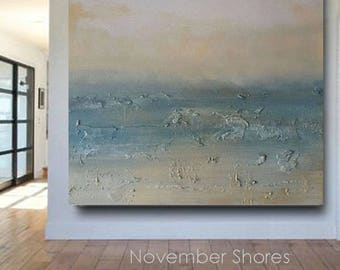 Large Landscape Textured Modern Abstract Beach Art Painting Wall Art Hanging DIY Decorating Interior Design Large Blue Grey USA Canvas