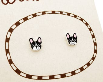 Black & White French Bulldog Earrings, French Bulldog Jewelry, Tiny Earrings, Bulldog Jewellery, Dog Earrings, Dog Jewelry, Shrink Plastic