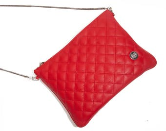 Brooklyn Red - Free shipping - Red leather clutch - purse. Handmade in Argentina