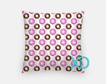 Donut Pillow, Chocolate Pillow Cover, Food Pillow Case, Red and White Pillow, Artistic Design, Home Decor, Decorative Pillow Case, Sham