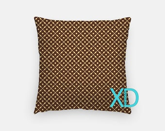 Retro Domino Pillow, Dominoes Pillow Cover, Lined Pillow Case, Brown, Tan Pillow, Artistic Design, Home Decor, Decorative Pillow Case, Sham