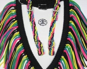 horse tack set, tack set, fringe breast collar, one ear headstall, breast collar, bridle, horse bridle, horse, paracord tack