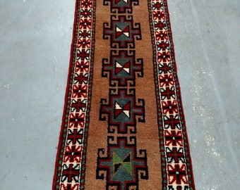 Persian Rug - 1980s Hand-Knotted, Vintage Ghouchan Rug Runner (3686)