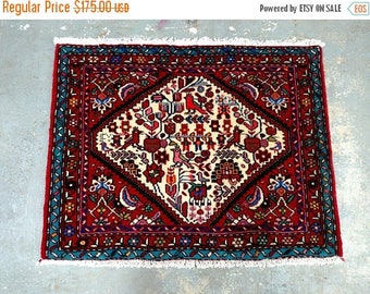 SUMMER CLEARANCE 1990s Hand-Knotted Hamadan Persian Rug (3676)