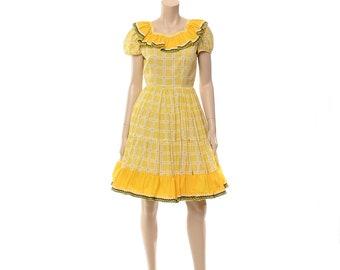 Vintage 70s Square Dance Dress 1970s Western Full Circle Skirt Country Prairie Rockabilly Fiesta Patio Dress / M