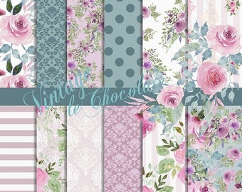 ON SALE Digital Paper, Seamless Floral Scrapbook Paper, Roses with Teal Watercolor Florals, Digital Design Paper. No. P199