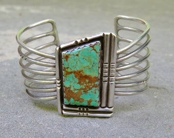 Turquoise and Silver Cuff, Vintage Navajo Turquoise Jewelry, Native American Signed Turquoise and Sterling Jewelry, Turquoise Bracelet