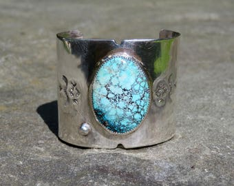 Turquoise and Sterling Cuff, Vintage Native American Turquoise Bracelet, Vintage Navajo Turquoise Bracelet, Small Size Turquoise Cuff