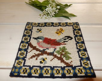 Swedish hand embroidered wall hanging 1970 s / a bird