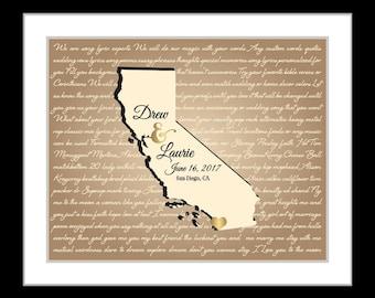 Custom anniversary gift, song lyrics map, california state print, california wedding print, custom wedding map destination gift vows print