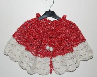 Cape poncho soft wool 12 to 24 months baby - handmade - crochet baby