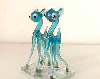 Vintage Glass blue deers  Figurine