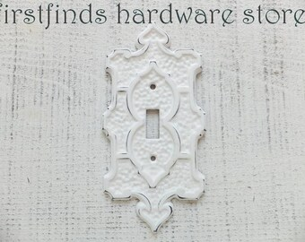 Light Switch Plate Cover Electrical Shabby Chic White Lite Vintage Metal Single Cottage Decor Wall Vintage Spade ITEM DETAILS BELOW