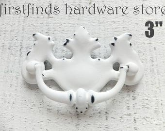 Drawer Pull Shabby Chic White Handle Furniture Hardware Vintag Chippendale Swing Cabinet Kitchen Canadian Maple Leaf 3inch ITEM DETAIL BELOW