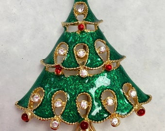 Festive Holiday Tree Broach