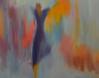 Dance Abstract Painting Canvas Wall Art Colorful Artwork, Oil Painting Figure, Purple Orange, Grey Art