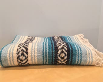 Vintage Mexican Blanket in Blue and White- Yoga/Beach/Picnic