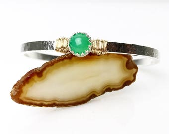 Genuine Chrysoprase Bracelet / May Birthstone Jewelry Gift for Her / Green Gemstone Cuff Bracelet / Mixed Metals Bracelet Gift for Mom
