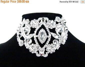 SALE SALE Crystal Bridal Necklace Set, Victorian Inspired Crystal Collar Necklace, Crystal Evening Choker- E - 12