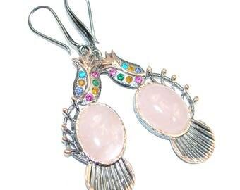 Rose Quartz, Cubic Zirconia Sterling Silver Earrings - weight 16.50g - dim L- 2 5 8, W - 3 4, T - 1 4 inch - code 9-gru-16-10