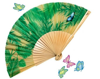 Folding HAND FAN green palm leaf print with blue butterfly natural wood summer fashion accessories unique gifts for women Free Shipping