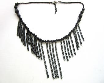 Victorian Style Necklace Multi Chain Swag Bib Faceted Black Lucite Beads Adjustable 18.5 - 20.5 Inches