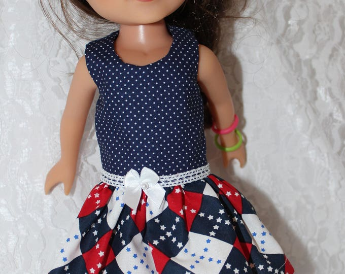 Red White and Blue Print Dress with red Ribbon. Handmade to fit the wellie wisher and Heart to Heart doll Free Shipping