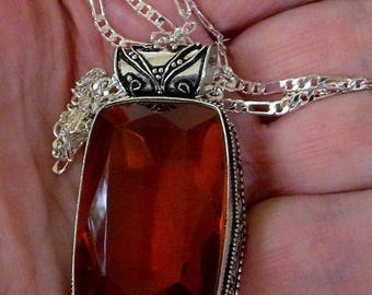 Xmas in July Sale Large Golden Topaz Colored Quartz Pendant in a Vintage Style Setting, .925 Silver Setting and Chain
