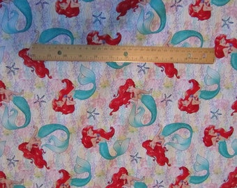 White Little Mermaid Ariel Cotton Fabric by the Yard