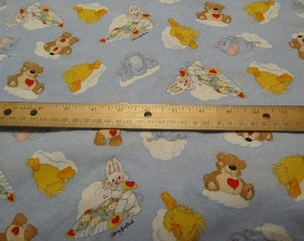 Blue Suzy Zoo Character Bedtime Cotton Fabric by the Half Yard