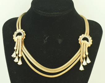 1940s Vintage Rhinestone Necklace Triple Chains and Dangles ~ Lot 1543