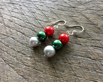 Silver Red Green Christmas Earrings, Pearl Earrings, Christmas Jewelry, Dangle Drop Earrings, Xmas Earrings, Xmas Jewelry on Silver Hook