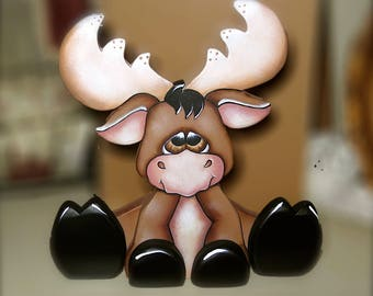 Marty moose hand made cute wood craft cute moose cabin rustic decor