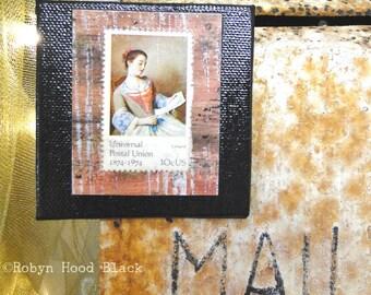 Vintage Postage Stamp Magnet 3 X 3 Universal Postal Union La Liseuse by Liotard