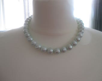 shell pearl necklace, light blue shell pearl, shell pearl