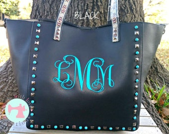 Guitar Strap Purse with Matching Makeup Bag-Leather Purse-Monogram Guitar Strap Handbag-Embroidered Guitar Strap Bag-Monogrammed Purse