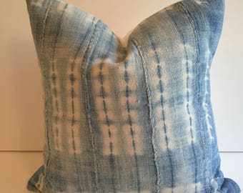 VERY faded african indigo mudcloth pillow cover