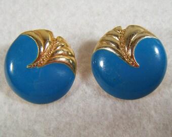 Vintage 80's Blue & Gold Pierced Earrings